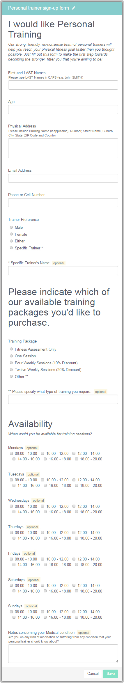 Signing up for personal trainer sessions