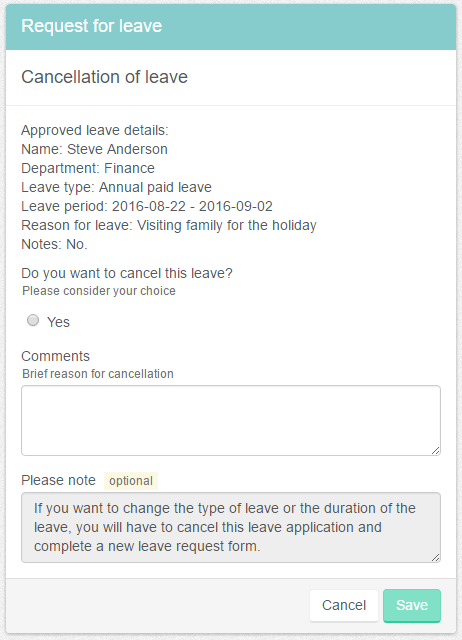 Leave cancellation form