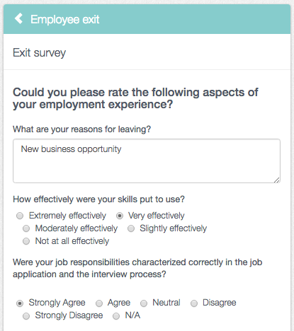 Richard fills in the exit survey