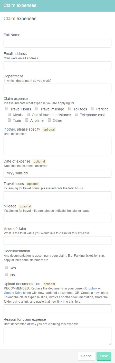 Expense claims form