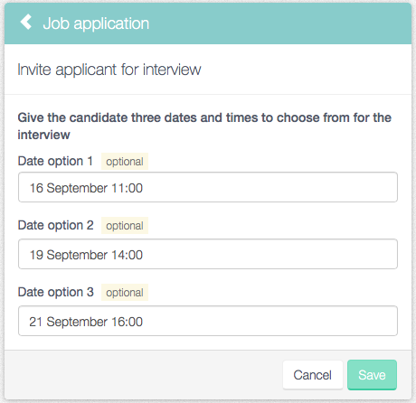 HR provides three potential dates and times for the interview