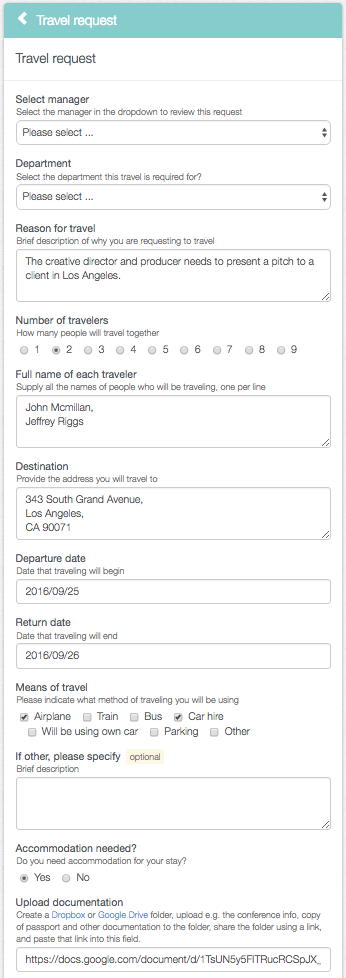 The PA start filling in the travel request form