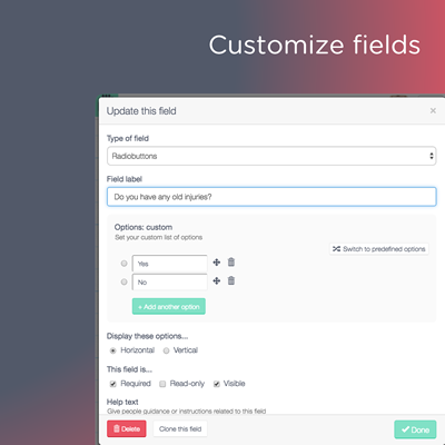 Customize fields