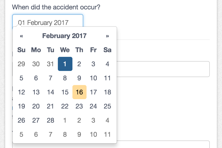 Choose a date from the date picker.