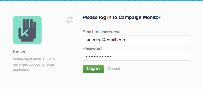 Log into your Campaign Monitor account