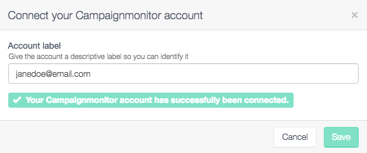 Successfully connected to your Campaign Monitor account