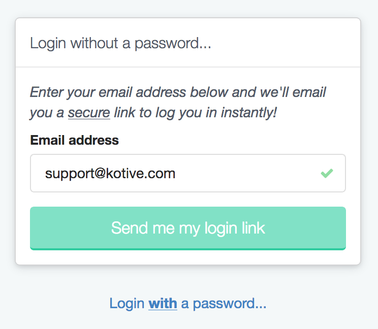 Passwordless login form