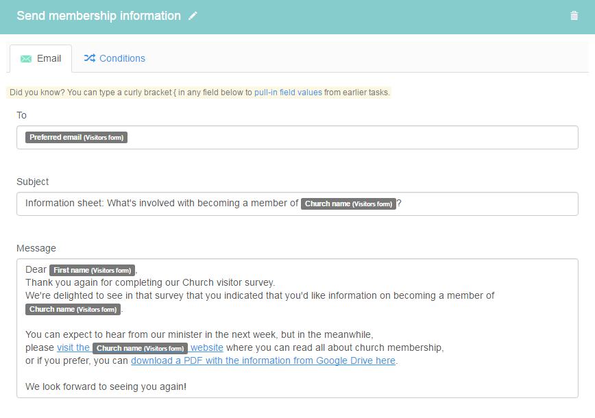 Church visitors taskflow kotive send membership information altavistaventures Choice Image