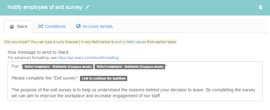Notify employee of exit survey