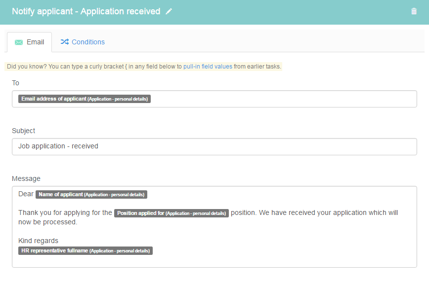 Notify applicant - Application received
